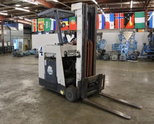 crown stand up forklift used press